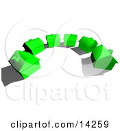 Row Of New Green Energy Efficient Homes In A Subdivision Neighborhood On A Dead End Cul De Sac Street Ready To Be Sold Real Estate Clipart Illustration