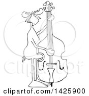 Cartoon Black And White Lineart Moose Playing And Plucking A Double Bass