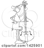 Cartoon Black And White Lineart Moose Playing A Double Bass With A Bow