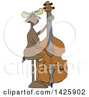 Cartoon Moose Playing And Plucking A Double Bass