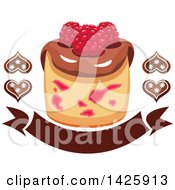 Clipart Of A Cupcake With Raspberries And Chocolate Hearts Over A Banner Royalty Free Vector Illustration by Vector Tradition SM