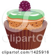 Clipart Of A Cupcake With A Berry Royalty Free Vector Illustration by Vector Tradition SM