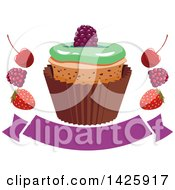 Clipart Of A Cupcake With Berries Over A Blank Banner Royalty Free Vector Illustration by Vector Tradition SM