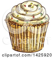 Clipart Of A Sketched Cupcake With Sprinkles Royalty Free Vector Illustration by Vector Tradition SM