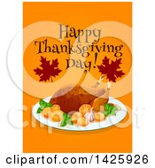 Clipart Of A Happy Thanksgiving Day Greeting With A Roasted Turkey And Oranges Royalty Free Vector Illustration by Vector Tradition SM