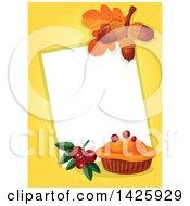 Clipart Of A Thanksgiving Sign With A Pie Berries Leaves And Acorns Over Yellow Royalty Free Vector Illustration