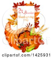 Clipart Of A Thanksgiving Cornucopia And Text Royalty Free Vector Illustration