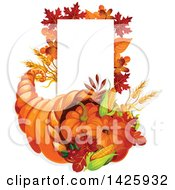 Clipart Of A Thanksgiving Cornucopia And Blank Sign Royalty Free Vector Illustration by Vector Tradition SM