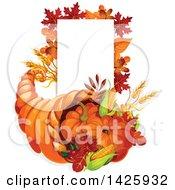 Thanksgiving Cornucopia And Blank Sign