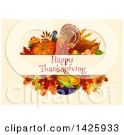 Clipart Of A Happy Thanksgiving Greeting With A Turkey And Harvest Vegetables Royalty Free Vector Illustration by Vector Tradition SM