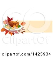 Clipart Of A Thanksgiving Banner With A Raosted Turkey And Leaves Royalty Free Vector Illustration by Vector Tradition SM