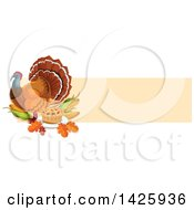 Clipart Of A Thanksgiving Banner With A Turkey Bird Pie Leaves And Corn Royalty Free Vector Illustration by Vector Tradition SM