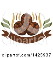 Clipart Of Three Coffee Beans With Steam Over A Banner Royalty Free Vector Illustration