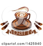 Hot Latte Coffee With Chocolate Spirals Over A Banner