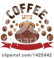 Clipart Of A Coffee Latte On A Saucer With Beans And Text Over A Banner Royalty Free Vector Illustration by Vector Tradition SM