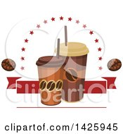 Clipart Of Take Out Coffee Cups With Stars Beans And A Red Banner Royalty Free Vector Illustration