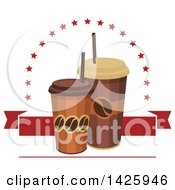 Clipart Of Take Out Coffee Cups With Stars And A Red Banner Royalty Free Vector Illustration