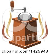 Clipart Of A Coffee Grinder With Steam Royalty Free Vector Illustration