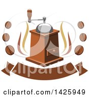 Clipart Of A Coffee Grinder With Steam And Beans Over A Banner Royalty Free Vector Illustration