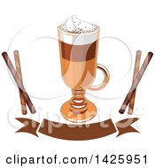 Clipart Of A Coffee Macchiato With Pirouettes Over A Banner Royalty Free Vector Illustration