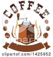 Clipart Of A Coffee Grinder With Steam Text And Beans Over A Banner Royalty Free Vector Illustration