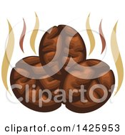 Clipart Of Three Coffee Beans With Steam Royalty Free Vector Illustration