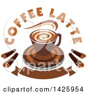 Clipart Of A Hot Latte Coffee With Text And Chocolate Spirals Over A Banner Royalty Free Vector Illustration