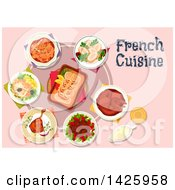 Clipart Of A Table Set With French Cuisine Royalty Free Vector Illustration