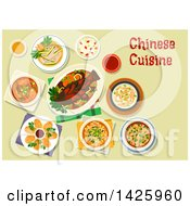 Clipart Of A Table Set With Chinese Cuisine Royalty Free Vector Illustration