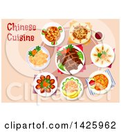 Clipart Of A Table Set With Chinese Cuisine Royalty Free Vector Illustration by Vector Tradition SM