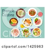 Clipart Of A Table Set With French Cuisine Royalty Free Vector Illustration by Vector Tradition SM