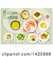 Clipart Of A Table Set With Italian Cuisine Royalty Free Vector Illustration