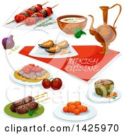 Clipart Of A Table Set With Turkish Cuisine Royalty Free Vector Illustration