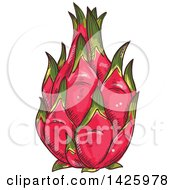 Clipart Of A Sketched Whole Dragonfruit Royalty Free Vector Illustration