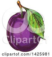 Clipart Of A Sketched Plum Royalty Free Vector Illustration by Seamartini Graphics