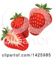 Clipart Of Strawberries Royalty Free Vector Illustration by Vector Tradition SM