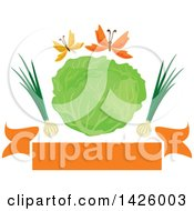 Green Cabbage With Green Onions And Butterflies Over A Banner