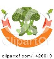 Clipart Of A Bunch Of Broccoli Over A Blank Banner Royalty Free Vector Illustration by Vector Tradition SM