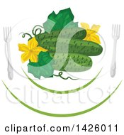 Clipart Of A Leaf Blossoms And Cucumbers On A Plate With Forks Royalty Free Vector Illustration by Vector Tradition SM