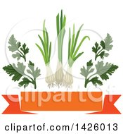 Clipart Of A Blank Orange Banner Parsley And Leeks Royalty Free Vector Illustration