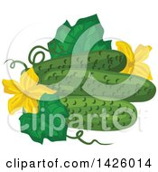 Clipart Of A Leaf Blossoms And Cucumbers Royalty Free Vector Illustration