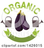 Clipart Of Purple Eggplants With Watering Cans Organic Text And A Blank Banner Royalty Free Vector Illustration by Vector Tradition SM