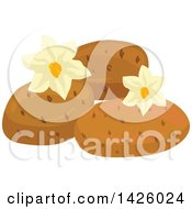 Clipart Of Blossoms And Potatoes Royalty Free Vector Illustration