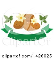 Clipart Of Blossoms And Potatoes Over A Green Banner Royalty Free Vector Illustration