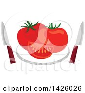 Clipart Of A Plate With Tomatoes And Knives Royalty Free Vector Illustration
