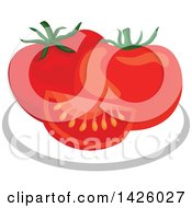 Clipart Of A Plate With Tomatoes Royalty Free Vector Illustration by Vector Tradition SM