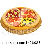 Clipart Of A Pizza Quatro Stagioni Royalty Free Vector Illustration