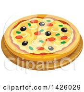 Clipart Of A Pizza Italian Tuna Royalty Free Vector Illustration by Vector Tradition SM