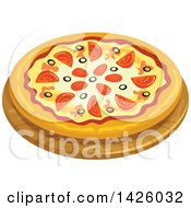 Clipart Of A Pizza Sicily Royalty Free Vector Illustration by Vector Tradition SM