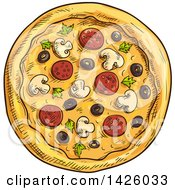 Clipart Of A Sketched Supreme Pizza Royalty Free Vector Illustration
